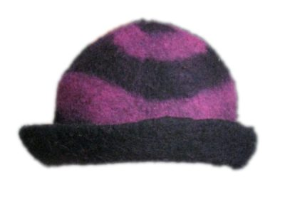 pink and black clown hat