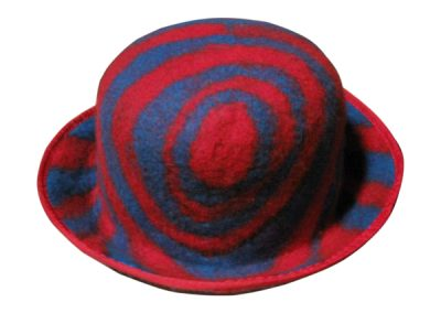 red and blue striped hat